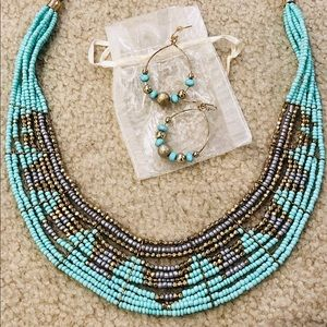 Jewelry - Beaded boho necklace & earring set